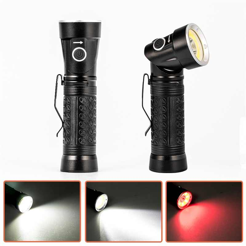 Powerful LED Flashlight 18650 T6+COB 6000LM 90 Degree Fold Multifunction Torch Light For Hunting Camping Search Lantern Lamp