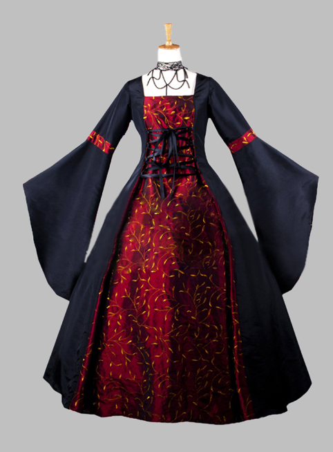 Gothic Black and Dark Red Print Kimono Sleeves Victorian Era Dress Party Dress Cosplay Dress