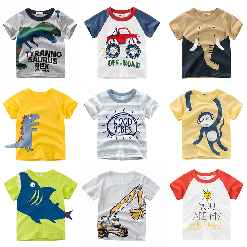 2020 Summer Boys T Shirt Kids Tshirt Animal Print Short Sleeve Baby Girls T-shirts Cotton Children T-shirt Tee Tops Boy Clothes
