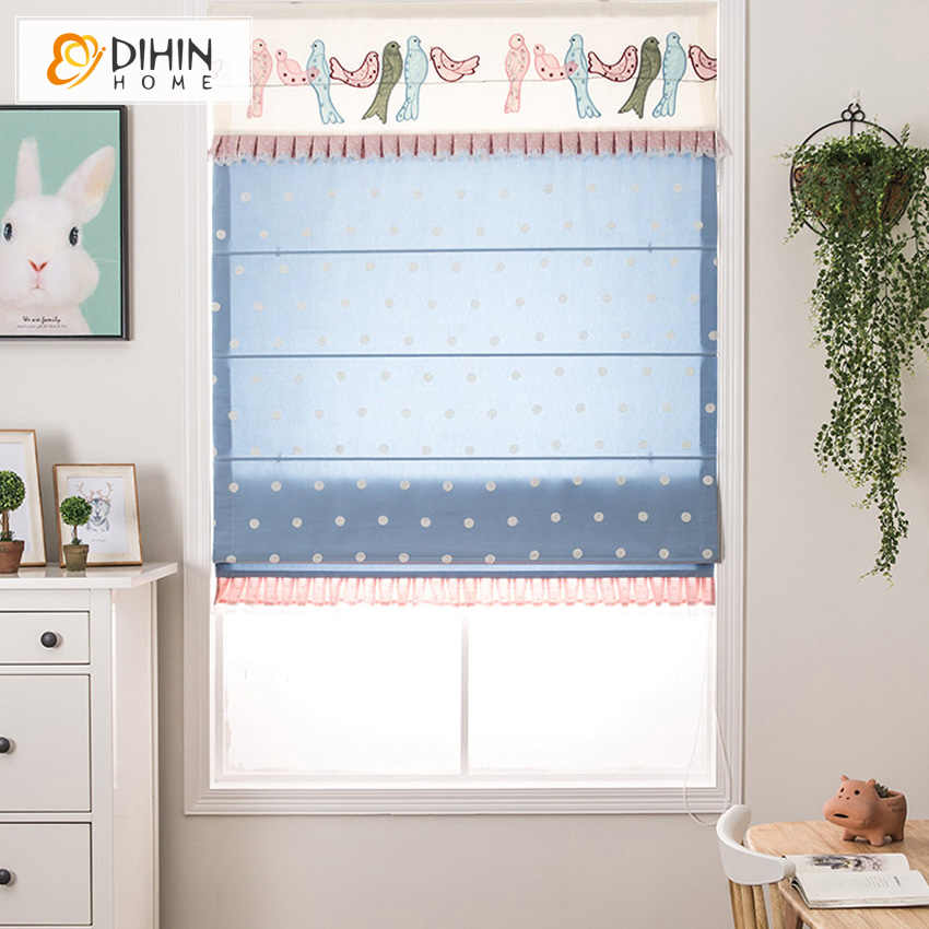 Included Curtains Korea Blue Valance Cotton/Linen Cartoon Fashion Rollor Blind Roman Shade Blinds Custom Made Curtains