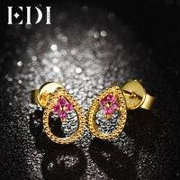 EDI Kobiet Stadniny Kolczyki Dla Soild 14 K 585 Żółtego Złota Kolczyki Mody Kobiet Prawdziwe Naturalne Ruby Biżuterii Pani prezenty
