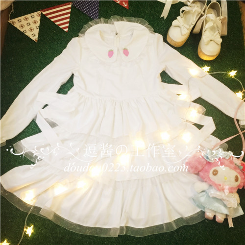 Robe lolita palace princesse col claudine fraise broderie robe victorienne kawaii fille robe gothique lolita op cos loli - 4