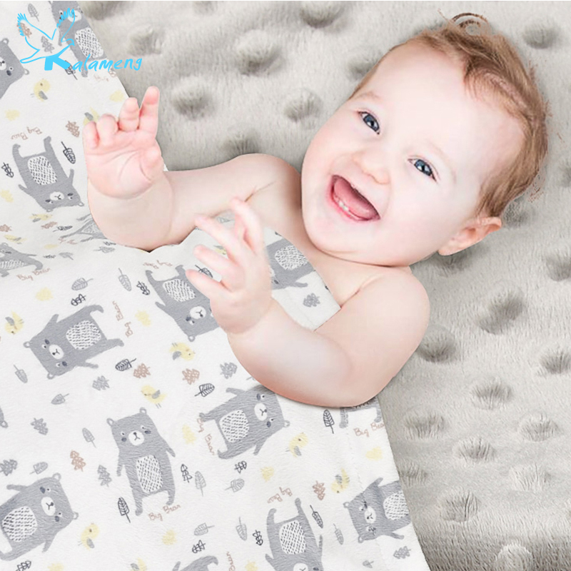 KALAMENG Baby Blanket Swaddle Blankets Newborn Softest Polyester Cover White  Cartoon Animals 0-3 Months Large 120CM*75CM free shipping infant children cartoon thick coral cashmere blankets baby nap blanket baby quilt size is 110 135 cm t01 page 2