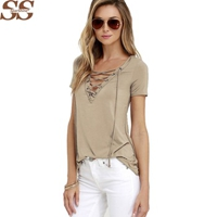2017 New High Quality Sexy V-Neck Solid Top Fit Solid Top Tee Shirt Femme Blusas For Women