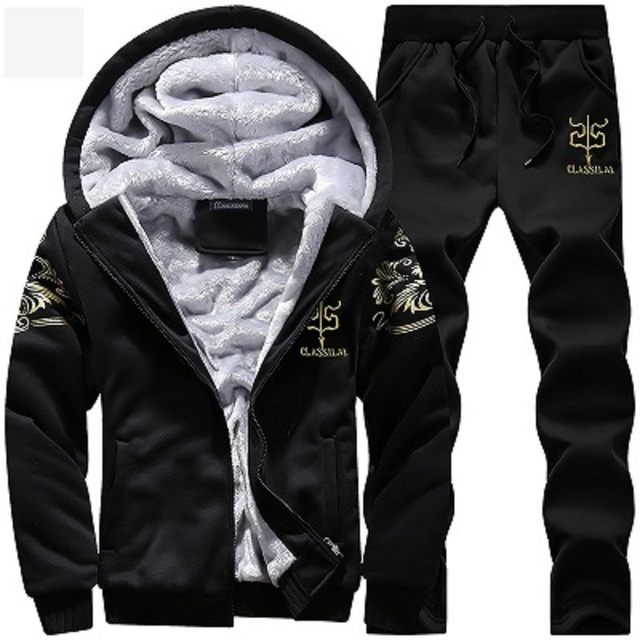 Men's Sportswear Casual Winter Warm Hooded Tracksuit Men Two Piece Sets Suit with Hood 2PC Fleece Thick Jacket + Pants Male 4XL 3