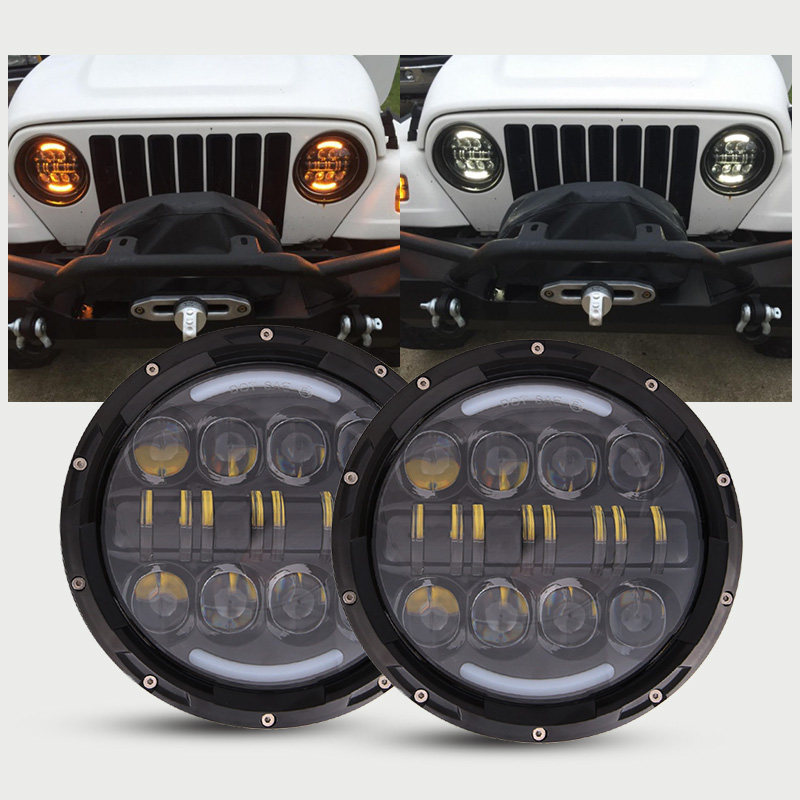 80W 7 inch Car Led Headlight 4x4 Off road Led H4 Hi/Lo Beam led Auto Headlight Kit for Jeep Wrangler JK CJ Motorcycle 7 inch round 50w 7 led headlight h4 led head lamp for harley motorcycle for jeep wrangler 4x4 with white amber halo hi low beam