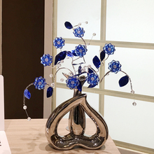 Nordic creative crystal flower Decoration wedding Gifts Heart-shaped vase porcelain Figurines Miniatures home decoration