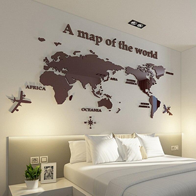 Carte du monde acrylique 3D stéréo sticker mural canapé fond stickers muraux décoration murale bureau