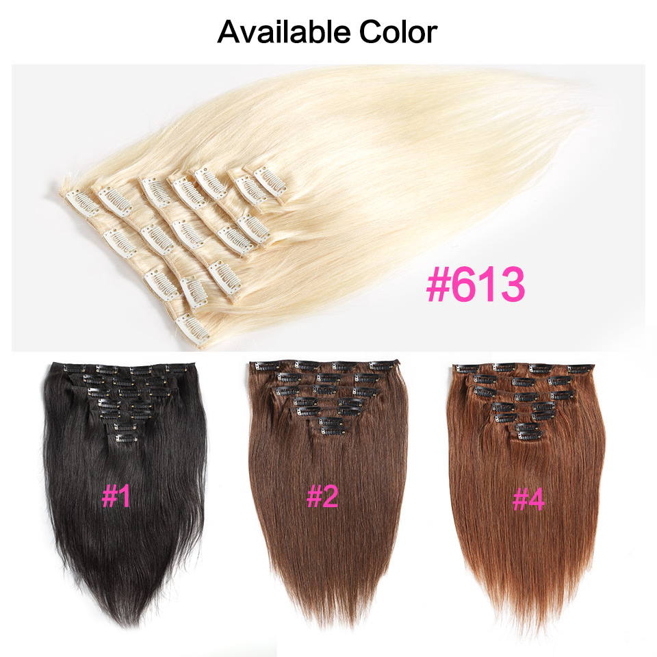 Luvin Clip In Human Hair Extensions 7 Pieces Color 1 2 4 613