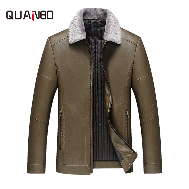 QUANBO 2018 Winter New Arrival Men's   Down   Jacket High quality Business Casual Flocking Thick Warm Leather Jacket   Down     Coat   4XL