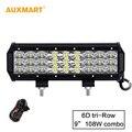 """Auxmart 9 """"108 w Tri 6D-Row LED Light Bar Combo Feixe Offroad Luz de Trabalho 12 v 24 v Para 4x4 SUV 4WD ATV RZV Caminhão Reboque LEVOU Bar"""