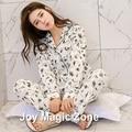 Envío gratis primavera otoño de algodón conjunto dormir de manga larga conjunto de pijama de las mujeres del o-cuello ropa de dormir delgada A258