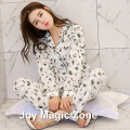 Free shipping spring autumn cotton women's pajama set long sleeve sleep set o-neck thin sleepwear A258