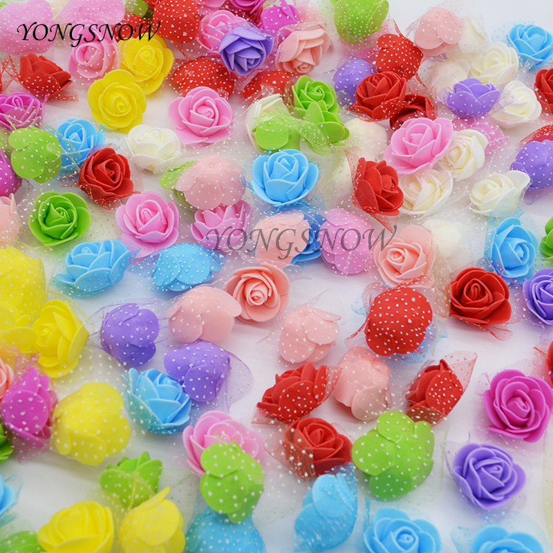50Pcs/lot 3cm Multicolor PE Foam Rose Artificial Silk Flower Heads For Wedding Decoration Home Garden DIY Wreaths Supplies 8Z