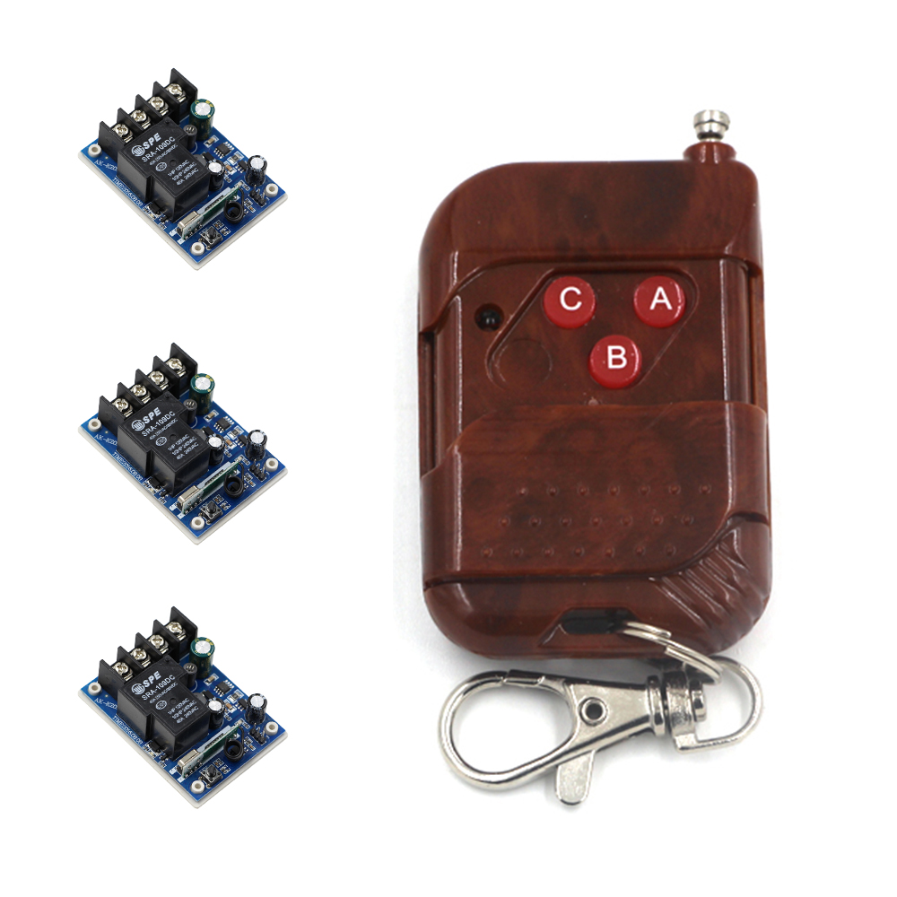 New Arrivals Wireless Remote Control Switches DC 12V-48V 30A Relay Wide Voltage Receiver & 315Mhz Transmitter with 3Buttons купить