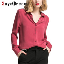 Women Silk Blouse 30mm 100% REAL SILK CREPE Blouses Button Heavy OFFICE Lady 2019 WHITE
