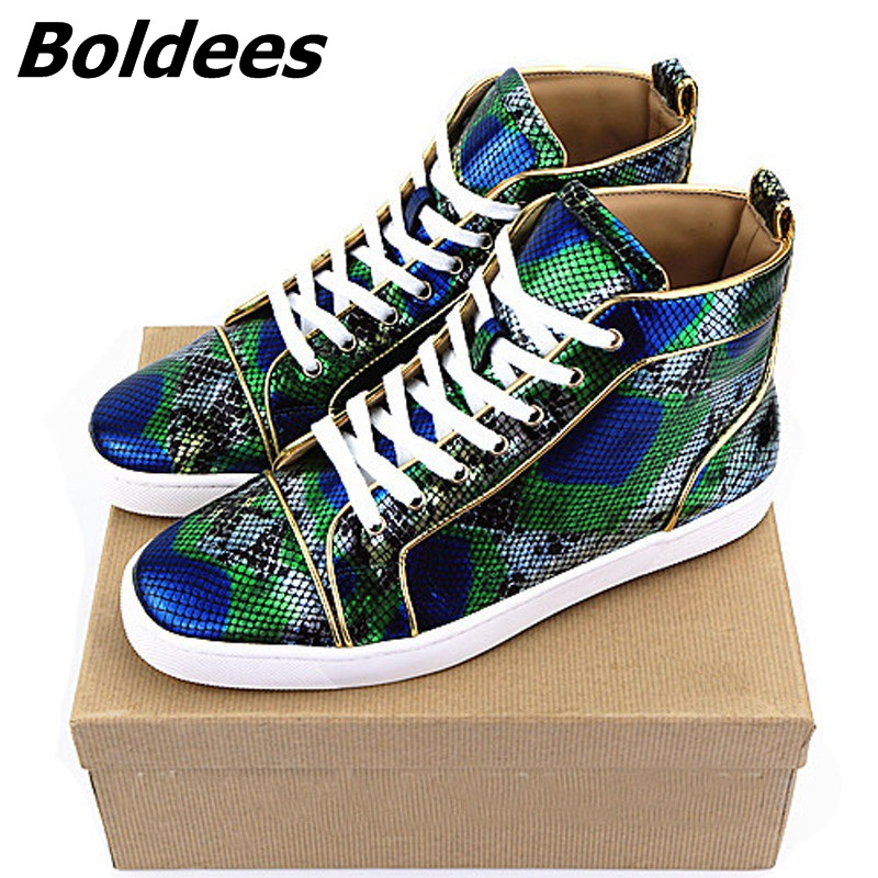 Boldees Luxury Design High Quality Green Snake Casual Men Shoes Chaussure Homme Fashion Men Sneakers White Bottom High Top Flats mint green casual sleeveless hooded top