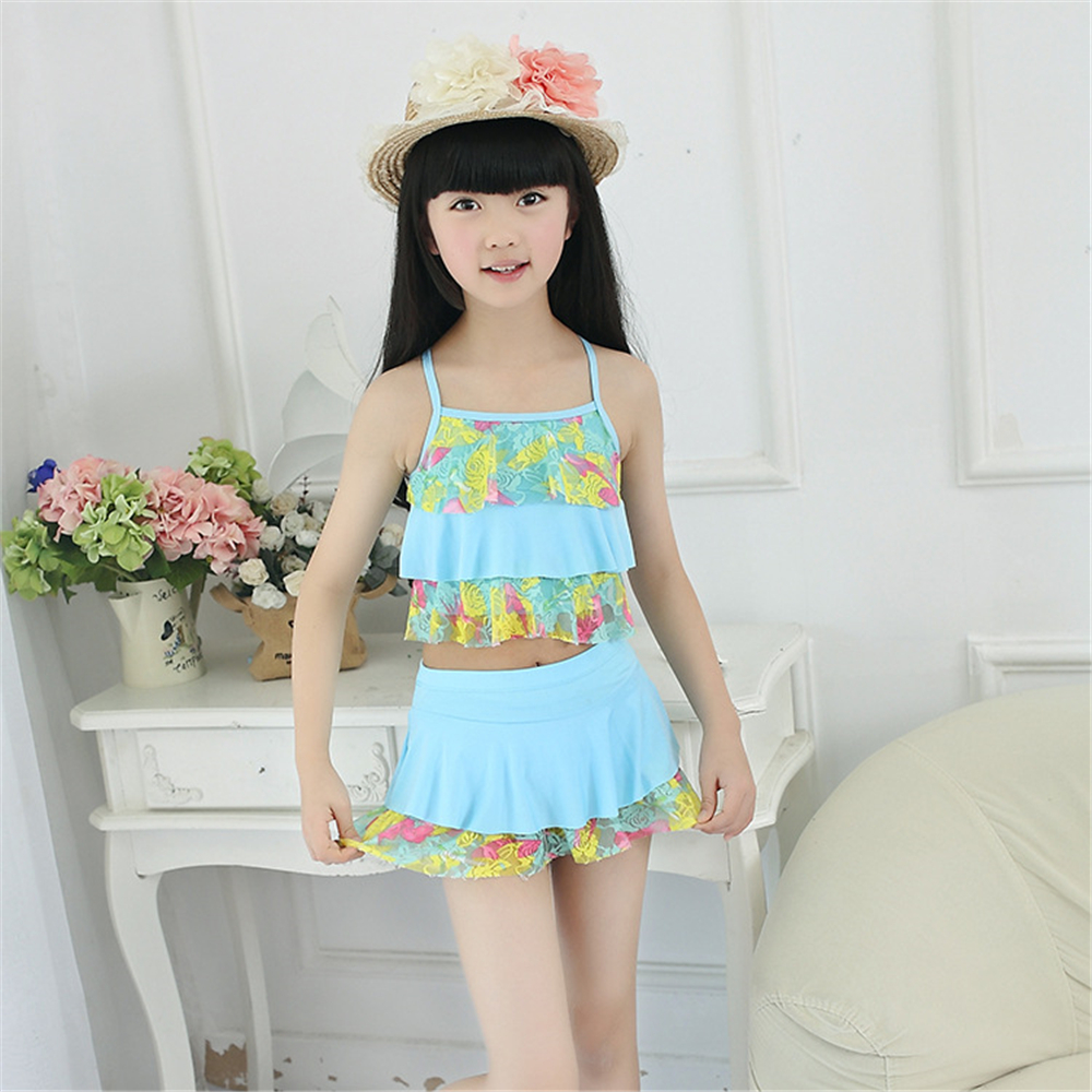 2018 New Summer Two Pieces Biquini Kids Girls Bikini Swimsuit Lovely Baby Infantil Hot Sale Baby Swimwear