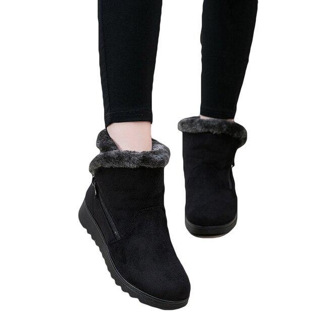 Botas de Neve mulheres Inverno Quente Pêlo Curto de Pelúcia Tornozelo Plataforma Bota Plus Size Senhoras Camurça Zip Sapatos Feminino Conforto Gota grátis