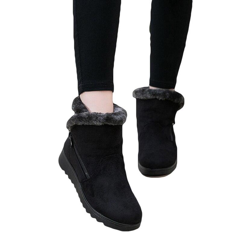Mujer Botas para la nieve caliente corta de piel de invierno tobillo bota Plus tamaño plataforma damas gamuza Zip zapatos de Mujer Botas Zapatos Mujer invierno