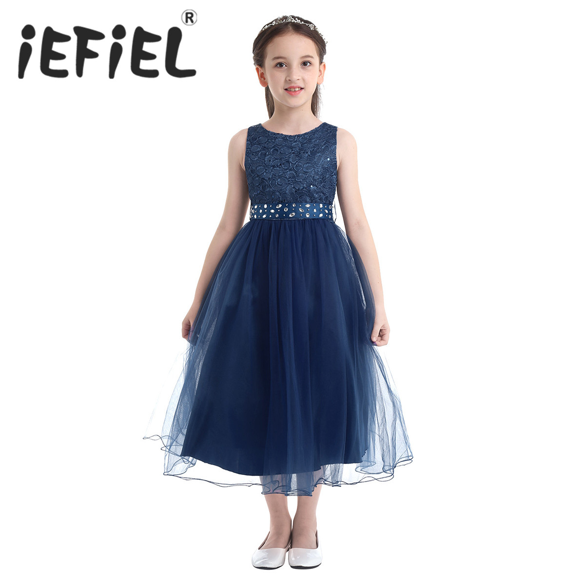 iEFiEL Elegant Sequined Kids Toddler Flower Girls Lace Dress Pageant Wedding Bridal Children Bridesmaid Princess Tulle Dress(China)