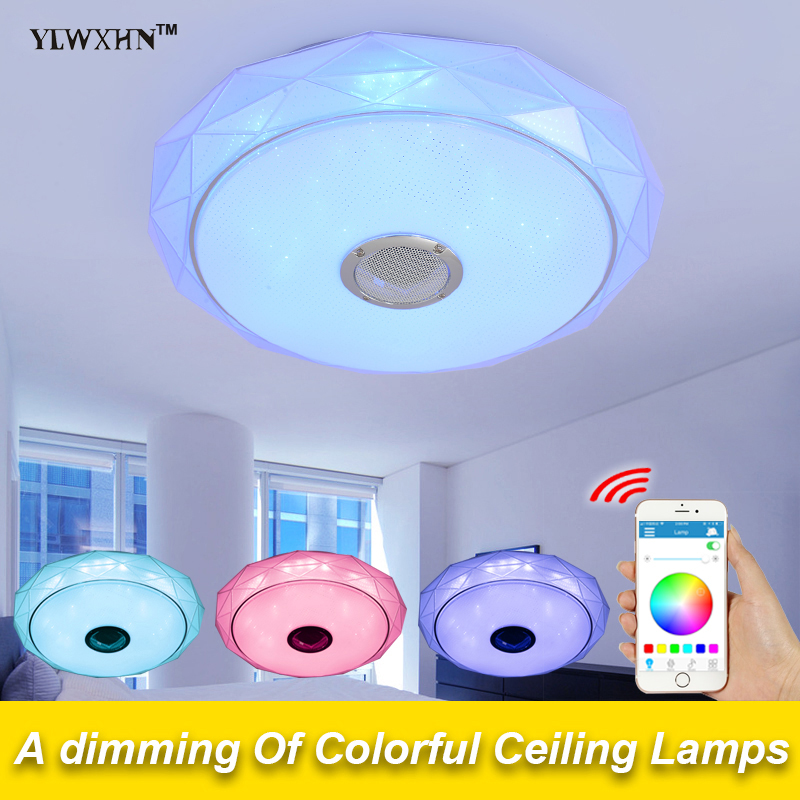 2017 New Ceiling Light Fixtures Flush Mounting With Bluetooth Speaker Sound Or Remote Control Led Lamps For Acrylic Dome Roof