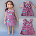 """2 in 1 Doll Clothes for 16"""" doll clothes or 18 inch American Girl doll clothes shirt strap dress for reborn baby doll"""