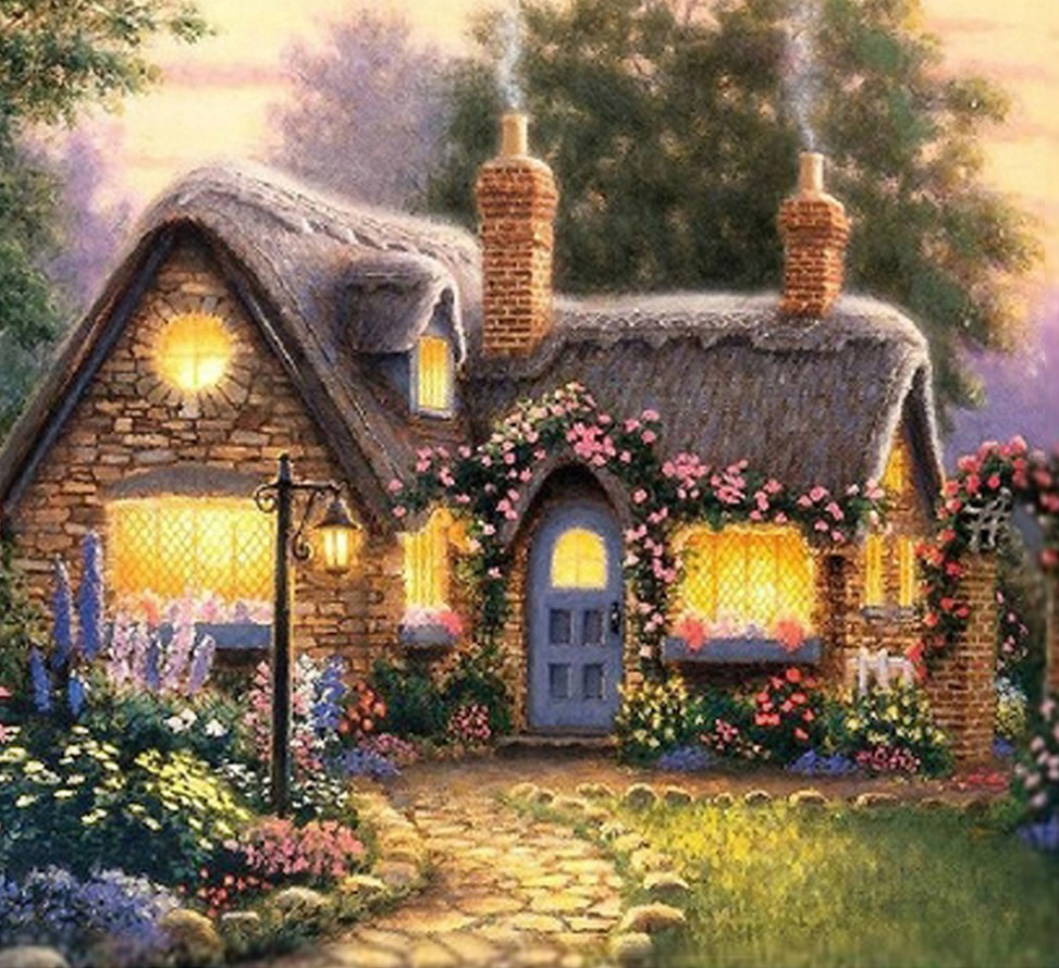 English country garden paintings - New Mosaic Full Diamond Embroidery Beads Country Garden Cottage Flower Landscape Diamonds Cross Stitch Painting Inlay