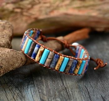 Unique Boho Tube Shape Natural Stones Single Leather Wrap Bracelets Handmade Bohemian Weaving Bracelet Leather Jewelry leather