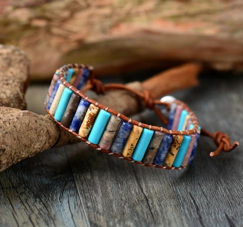 Unique boho tube shape natural stones single leather wrap for Unique handmade jewelry wholesale