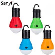Sanyi แบบพกพาโคมไฟแขวนกลางแจ้ง Camping Soft 3 ไฟ LED เต็นท์หลอดไฟสำหรับ Camping ตกปลา 4 สี 3 * AAA