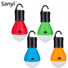 Sanyi Portable Lantern Outdoor Hanging Camping Soft Light 3 LED Tent Lights Bulb Lamp For Camping Fishing 4 Colors Use 3*AAA
