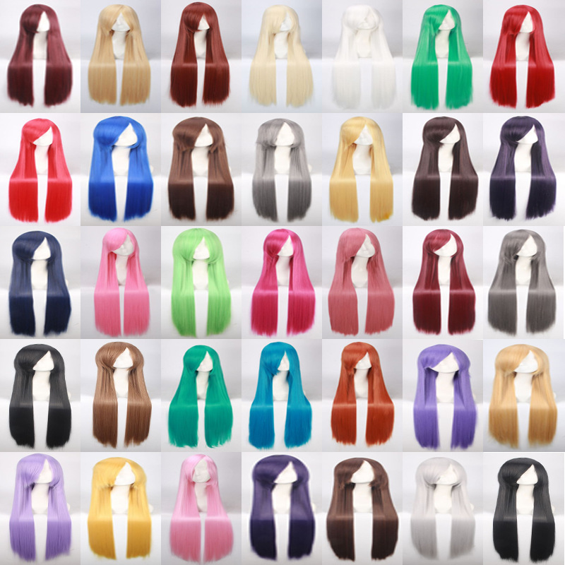 100cm 420g Rose Net Long Straight Wig Cosplay Costume Synthetic Hair White Blue Pink Brown Green Red Blonde Black Wigs For Women