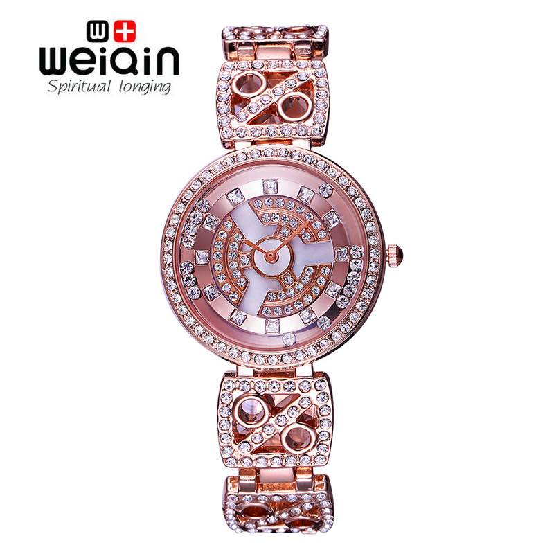 WEIQIN Lady Rose Gold Tone Shiny Crystal Watches Women Fashion Bracelet Timepiece Waterproof Wristwatch Female Dress Watch Girls vince camuto women s vc 5186chgb swarovski crystal accented gold tone multi function bracelet watch
