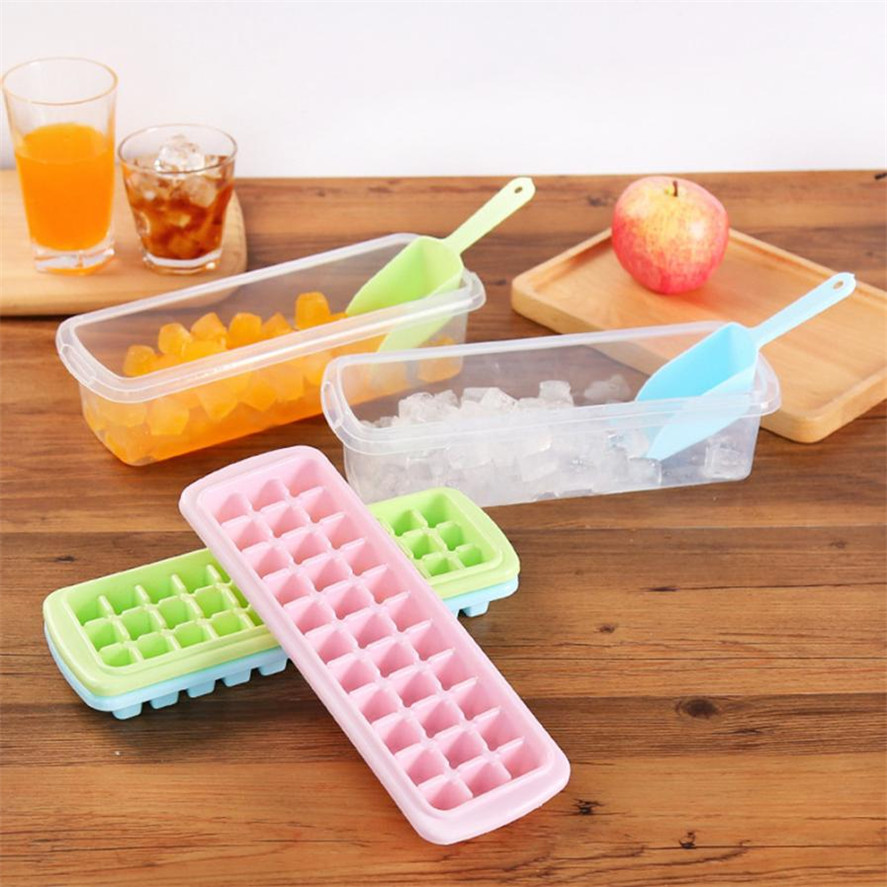 New DIY Ice Cream Tubs 1Set 33 Cavity Ice Cube Tray Box With Lid Cover Drink Jelly Freezer Mold Mould Maker High Quality 34