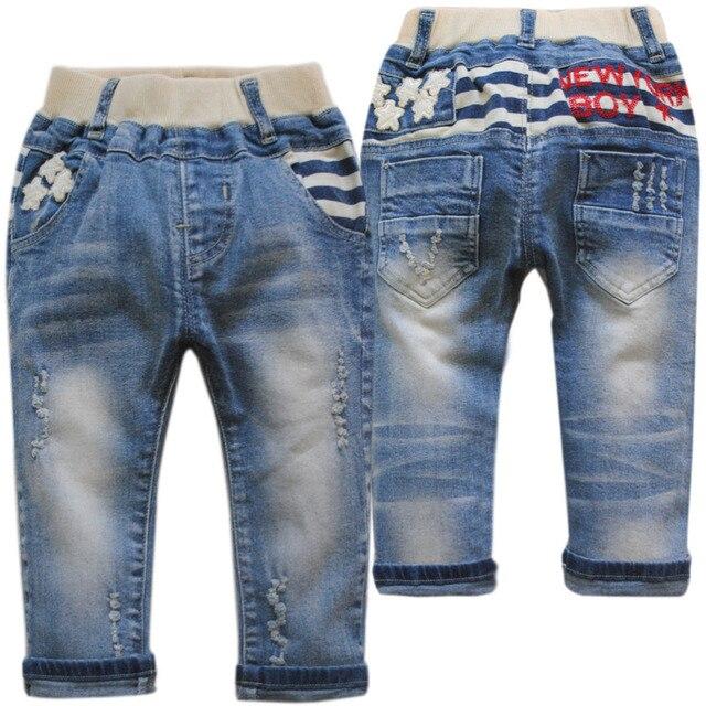 4005 случайные джинсы брюки детские джинсы детские брюки мальчиков весна осень голубой мальчик мода новый 2017