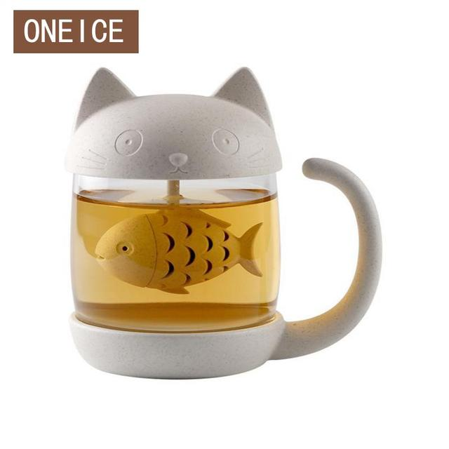 office cups. Cute Cat With Office Cups Tropical Handle Glass Mug Lid Home Cup Coffe Mugs Filter S