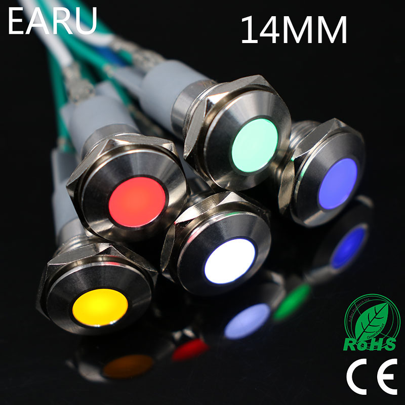 LED Metal Indicator Light 14mm Waterproof IP67 Signal Lamp 3V 5V 6V 9V 12V 24V 110V 220V Red Yellow Blue Green White Pilot Seal