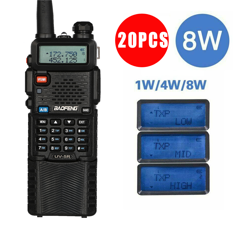 20Pcs Baofeng UV-5R Power 8W Triple 8/4/1 Watts High Power 10km Rang Two Way Radio VHF UHF Dual Band UV5R Portable Walkie Talkie