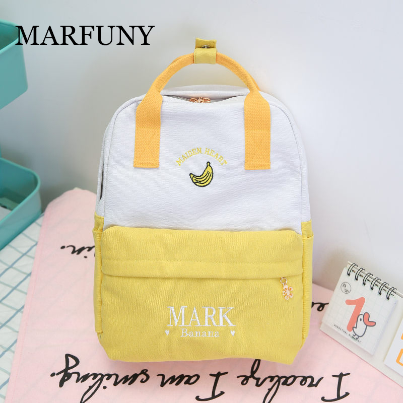 MARFUNY Cactus Embroidery Simple Canvas Backpack Large Students School Bag Women Girl Rucksack Mochila Escolar Women Backpack Sa elsie mochrie simple embroidery