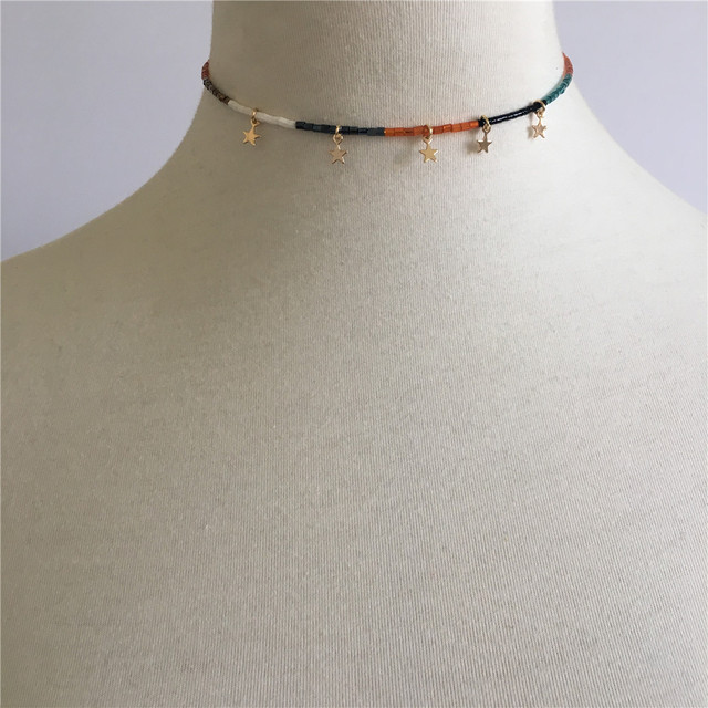 Colorful Bead Necklace With Small Star Charm 5