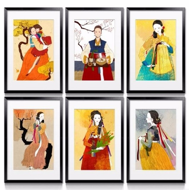 Classical HD Print Canvas Oil Painting Elegant Korean Ladies In ...