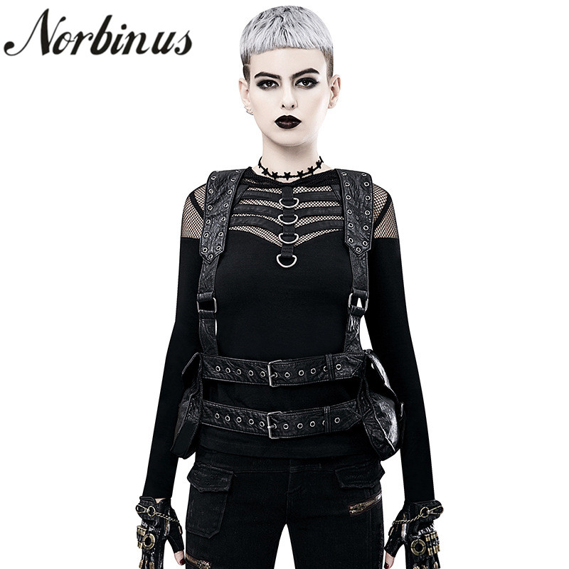 Norbinus Steampunk Women s Backpack Gothic Shoulder Waist Bags Motorcycle Daypack Moto Biker PU Leather Backpacks