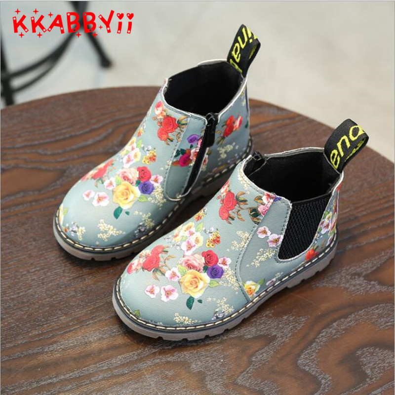 Kkabbyii niños de impresión de moda Zapatos Niñas Botas pu cuero lindo bebé Botas Comfy ankle niños niña Martin Zapatos tamaño 21 -36