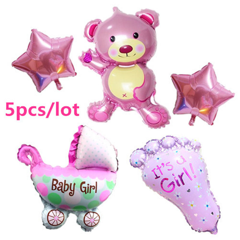 Hot 5pcs set air baloon baby girl balloon foil ballons for for Balloon decoration for baby girl