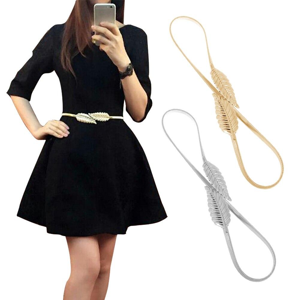 Hot Women Belt Leaf Design Clasp Front Stretch Metal Waist Belt Skinny Elastic Female Belt Ceinture Femme Cinturones Mujer