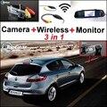 3 in1 Especial Câmera de Visão Traseira Sem Fio + Receptor + Espelho Monitor de DIY Sistema De Estacionamento Para Renault Megane II III 2 3