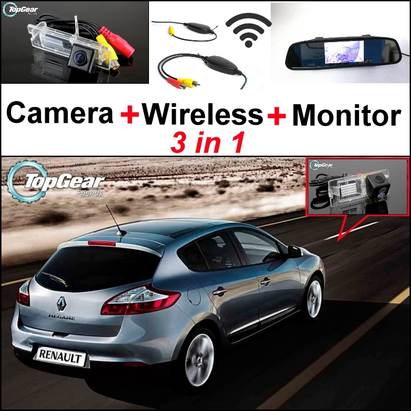 3 in1 Special Rear View Camera + Wireless Receiver + Mirror Monitor DIY Parking System For Renault Megane II III 2 3 for ford escape maverick mariner car parking sensors rear view back up camera 2 in 1 visual alarm parking system