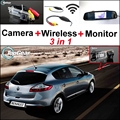 3 in1 Special Rear View Camera + Wireless Receiver + Mirror Monitor DIY Parking System For Renault Megane II III 2 3