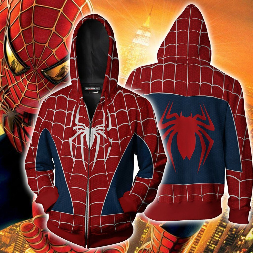 2018 Autumn Winter 3D Print remy spiderman Hoodies Sweatshirts Fashion Cosplay Casual Zipper hooded Jacket clothing